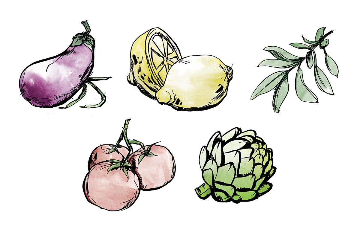 Illustration of an eggplant, lemon, sage leaf, tomatoes on the vine, and artichoke