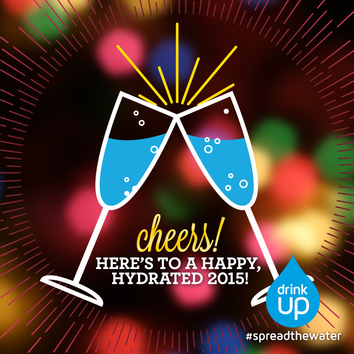 Illustration of Champagne glasses full of water for Drink Up Facebook graphic
