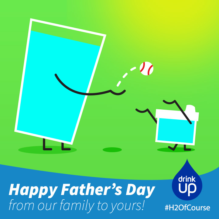 Illustration for Drink Up Father's Day graphic of water playing catch