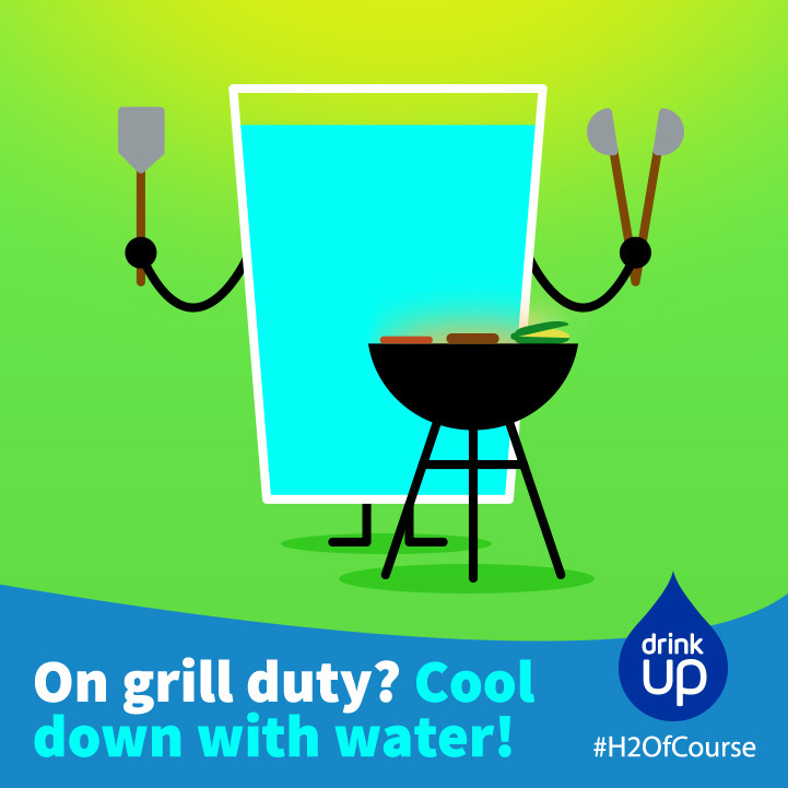Drink Up Father's Day Facebook graphic with a glass of water grilling