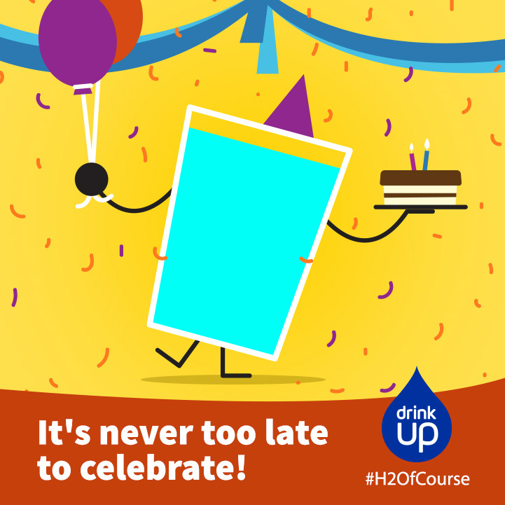 Drink Up Facebook graphic with an illustration of a glass having a birthday party