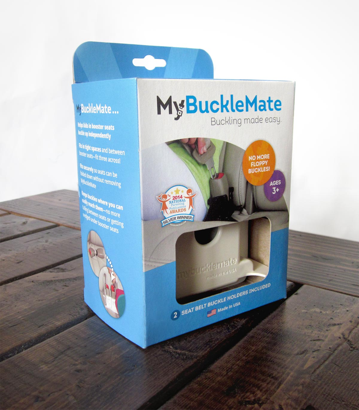 MyBuckleMate package design on a table
