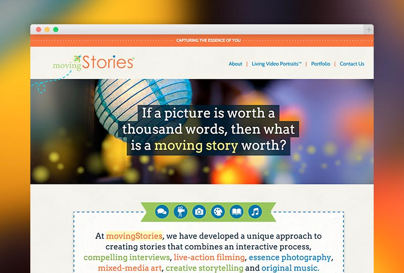 detail of the Moving Stories homepage design