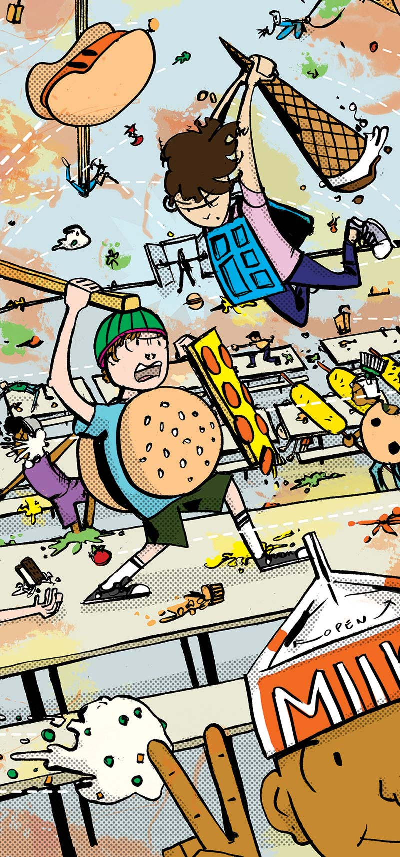 Illustration of kids wearing burger buns and lunch trays having a food fight