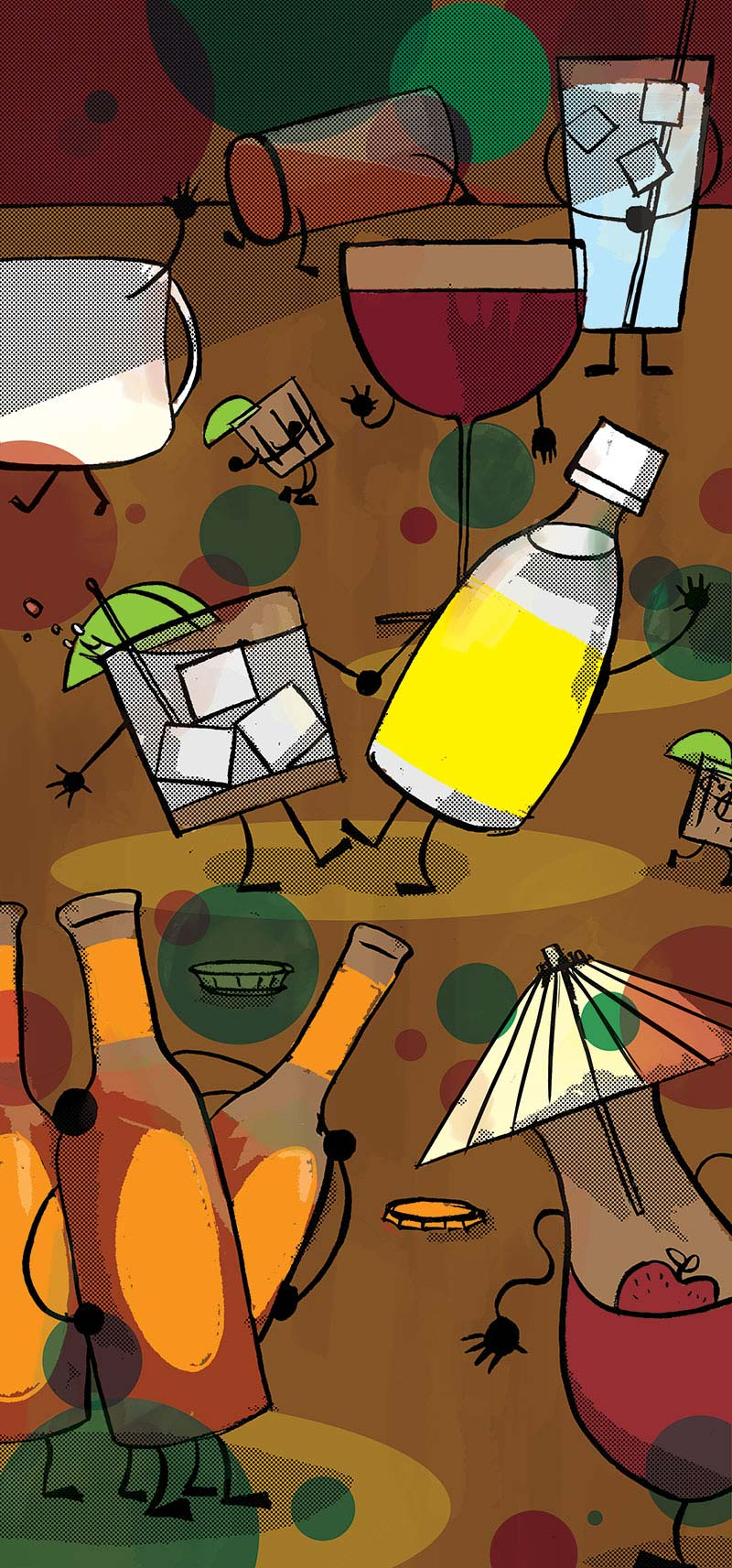 Illustration of personified wine glasses, cocktail glasses, and beer bottles having a cocktail party