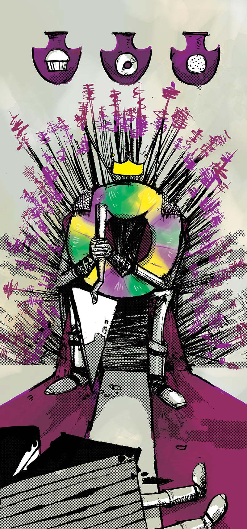 Illustration of a King Cake on a throne of toothpics for Northern Virginia Magazine
