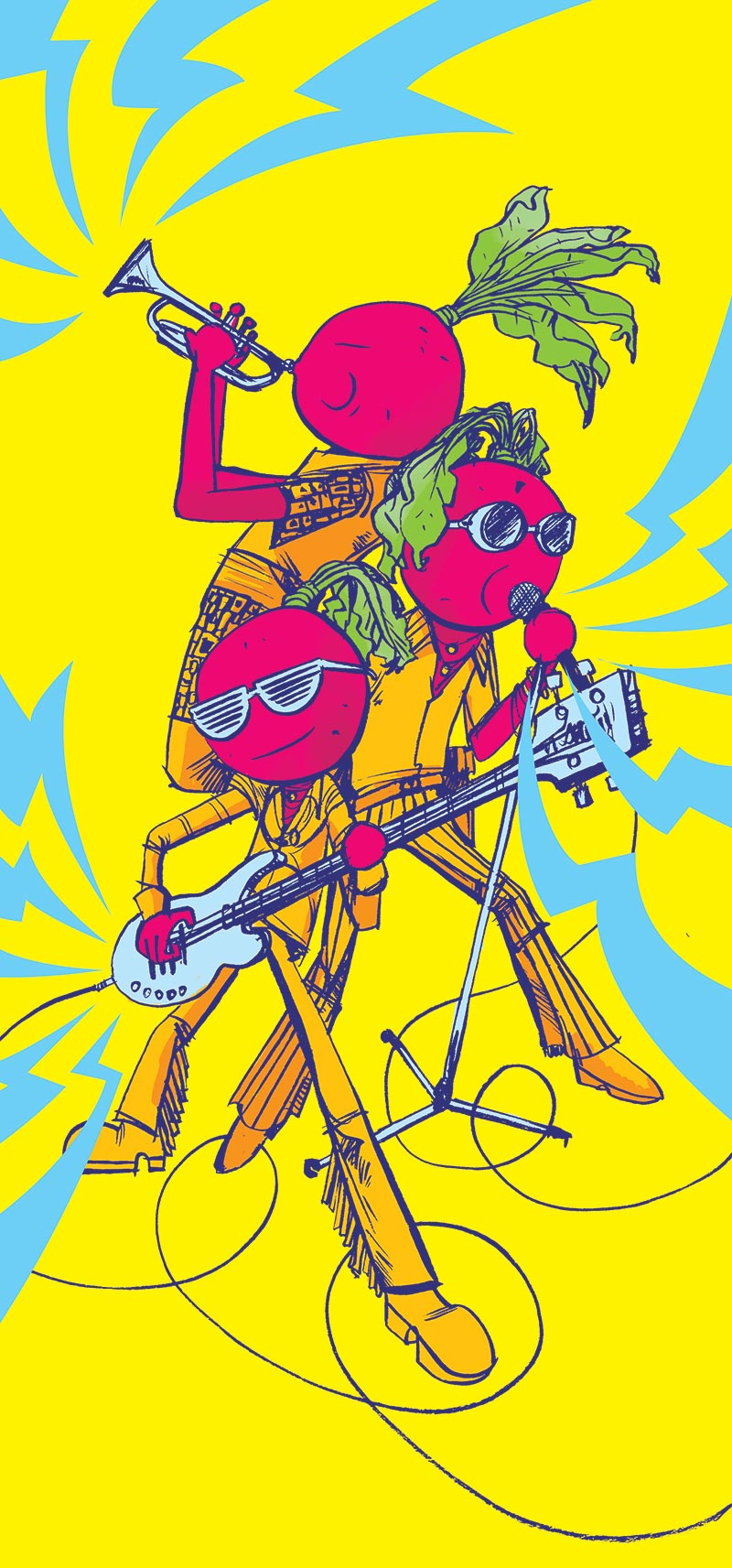 Illustration of Beets playing music for Northern Virginia Magazine