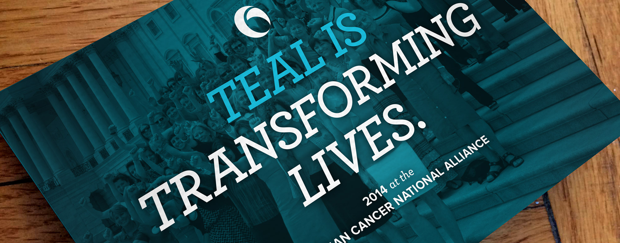 Close-up of the Ovarian Cancer National Alliance annual report cover