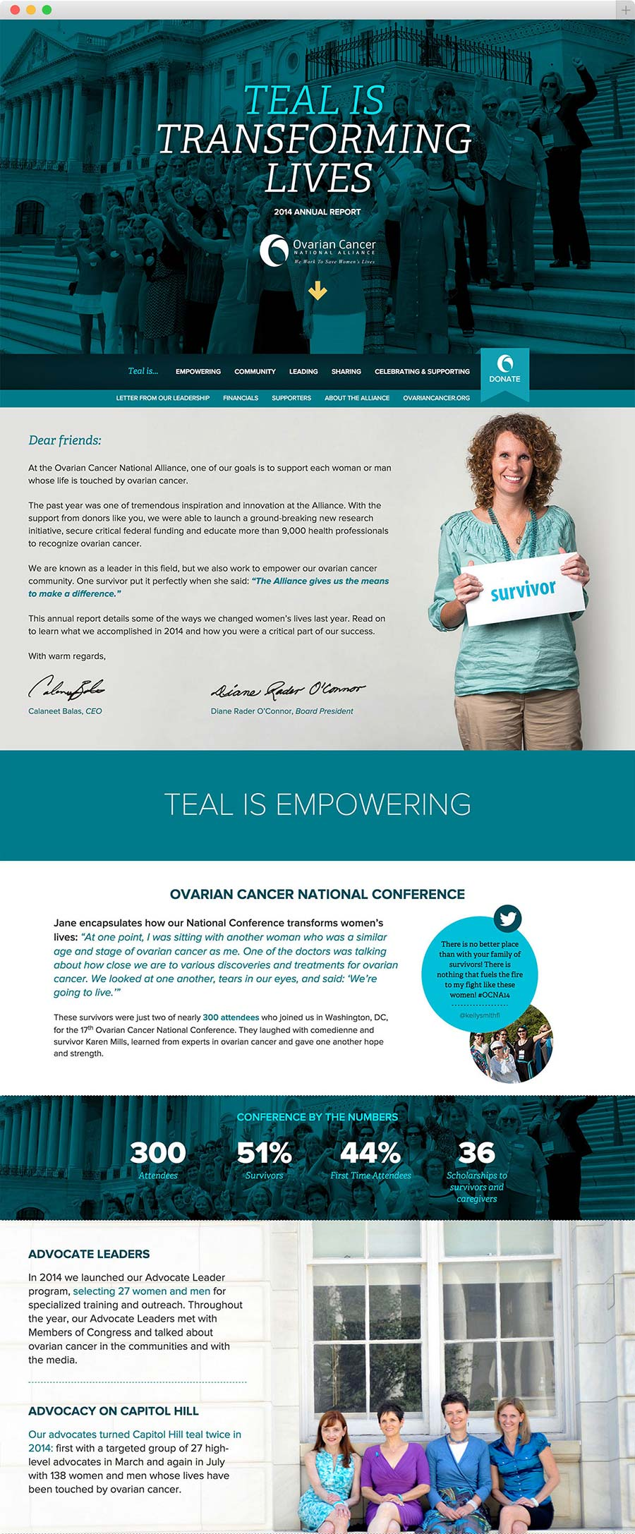 Detail of the Ovarian Cancer National Alliance 2015 Annual Report website