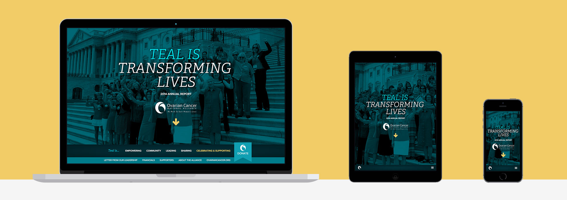 responsive design of the OCNA Annual Report on a laptop, iPad, and iPhone