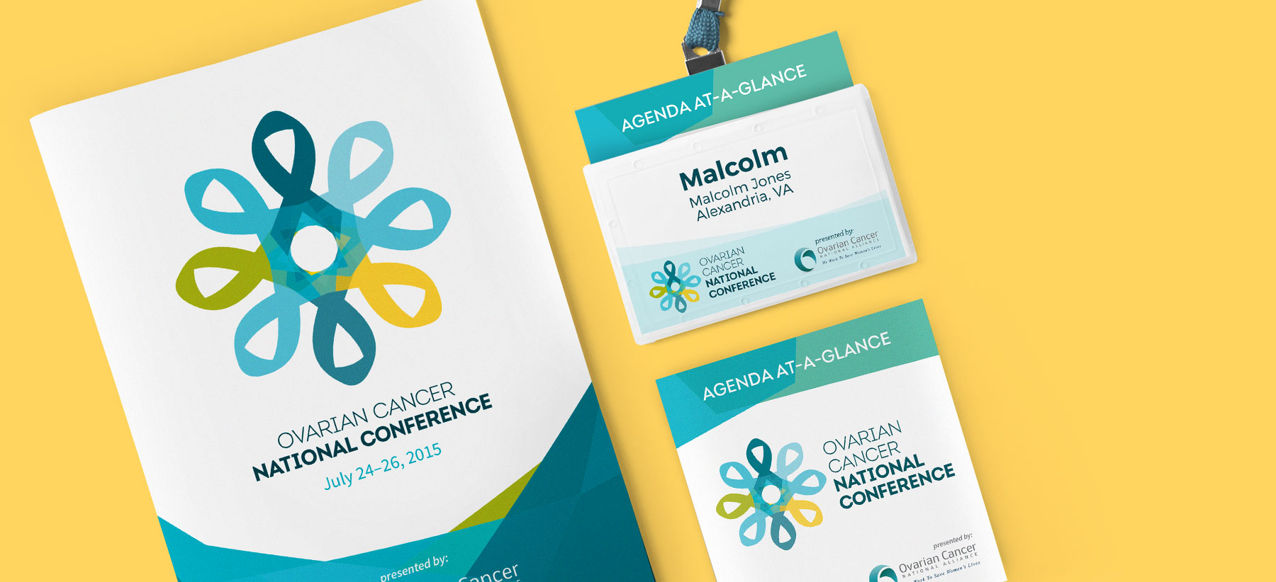 conference program, badge, and pocket agenda print design samples