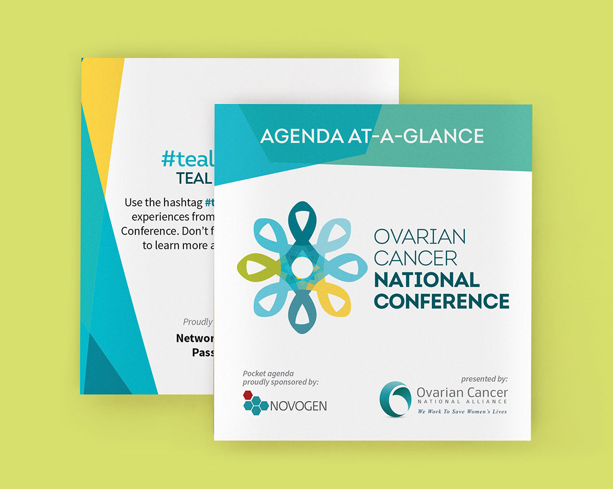 Front and back view of the Agenda-at-a-glance for the Ovarian Cancer National Conference