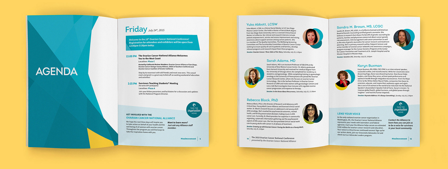 Two spreads from the program for the Ovarian Cancer National Conference