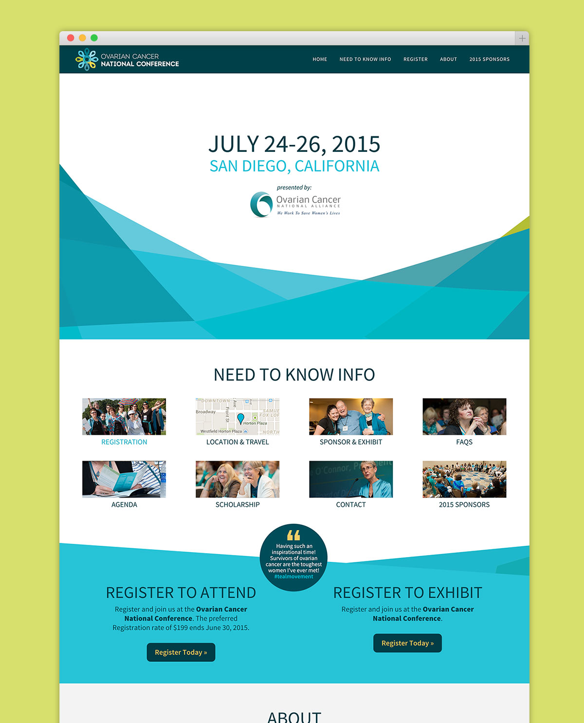 homepage design of Ovarian Cancer National Conference website