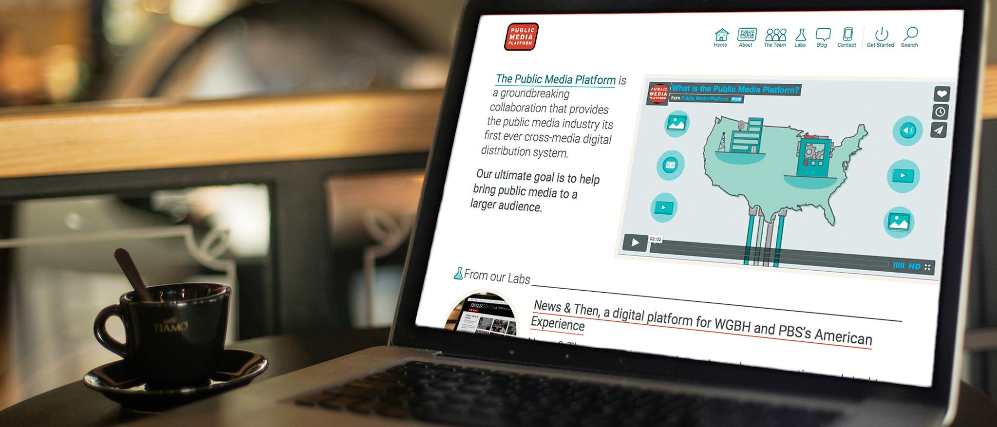 the Public Media Platform design on a laptop