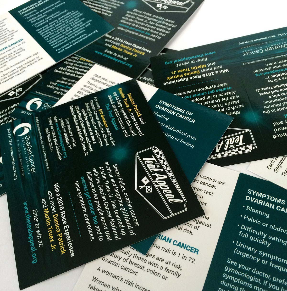 Photo of a stack of Teal Appeal Symptom and Promotion Cards