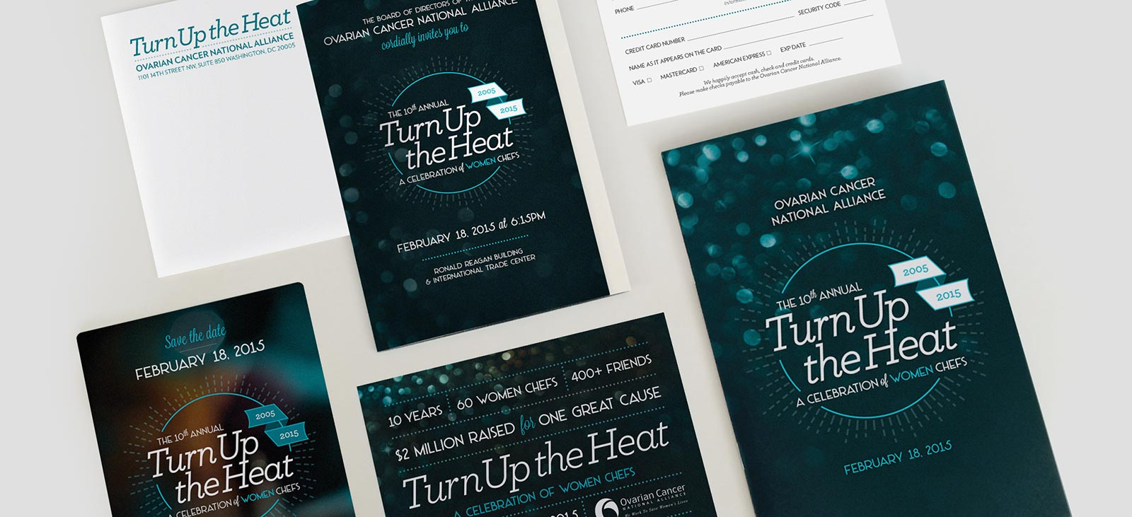 Print collateral design for the Turn Up the Heat gala