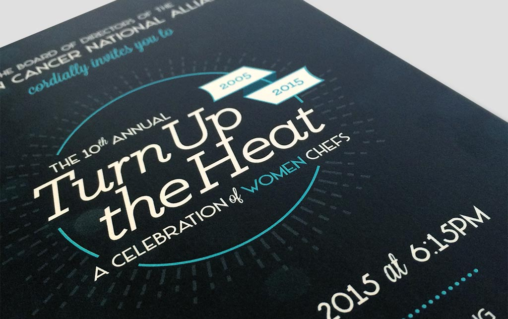 close-up of the logo on the front of the Turn Up the Heat postcard