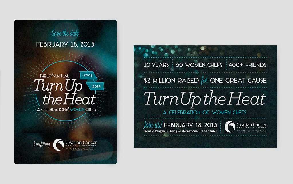 front and back designs from the Turn Up The Heat promotional postcard