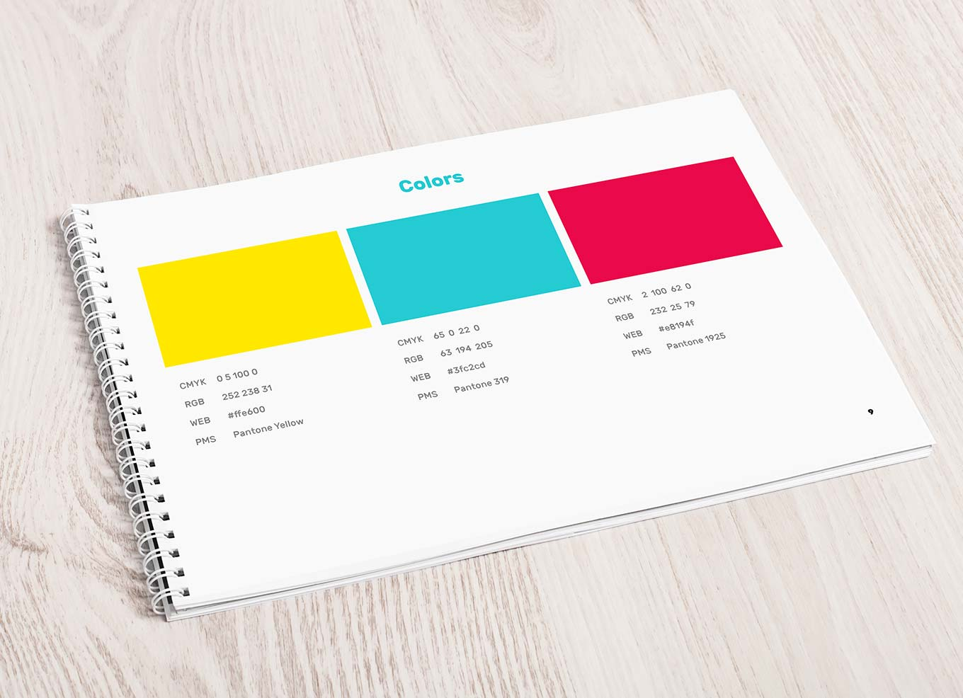 Detail of the colors page of the Good Lemon branding guidelines