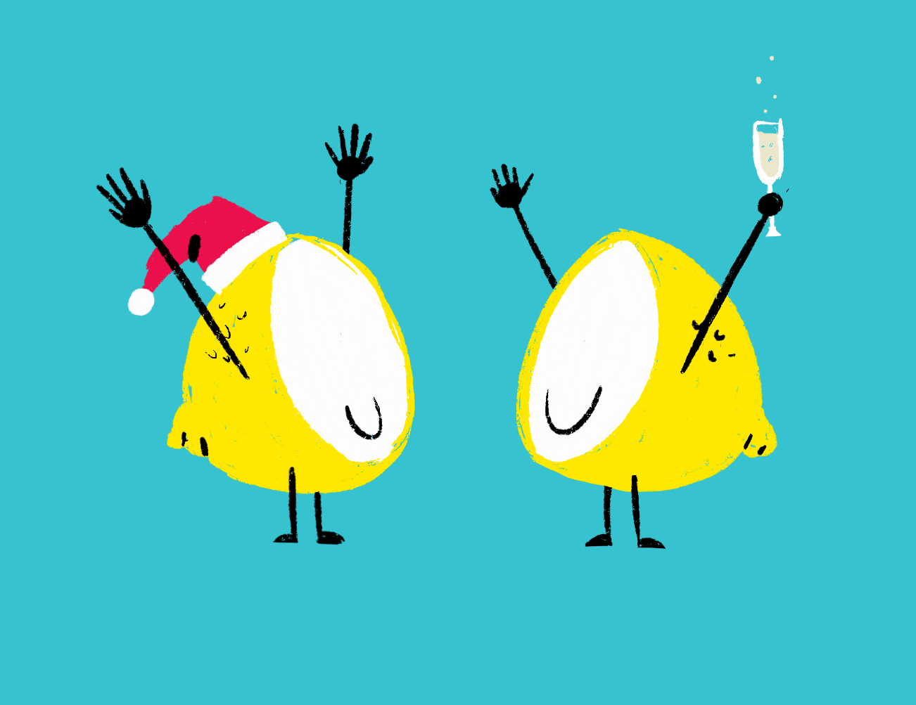 Two lemons at a holiday party. One with a santa hat on the other holding champagne.
