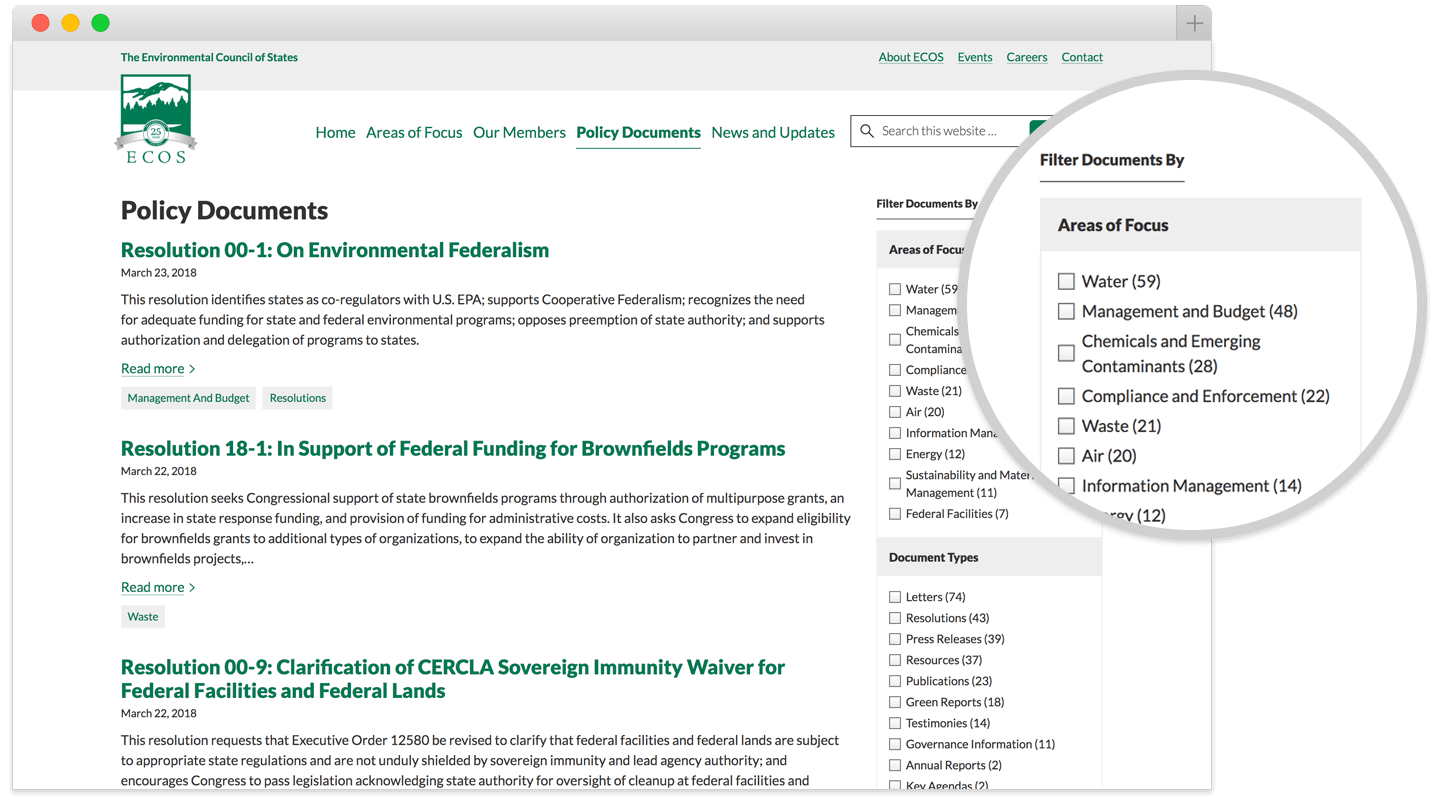 ecosresults.org policy documents page