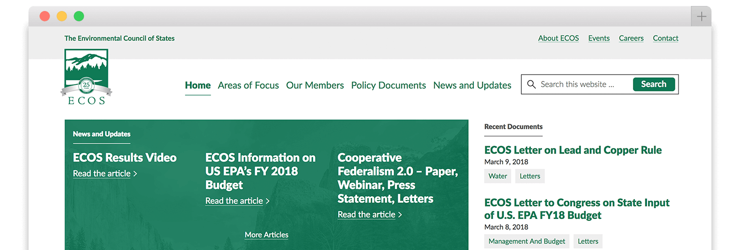 ecos.org homepage