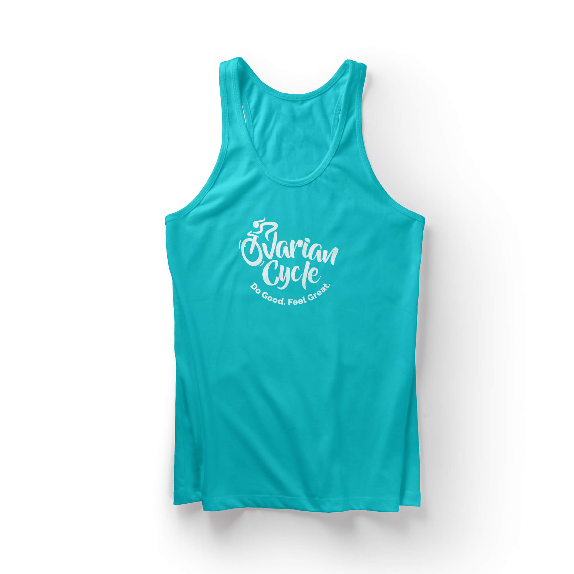 Ovarian Cycle logo on a teal tanktop
