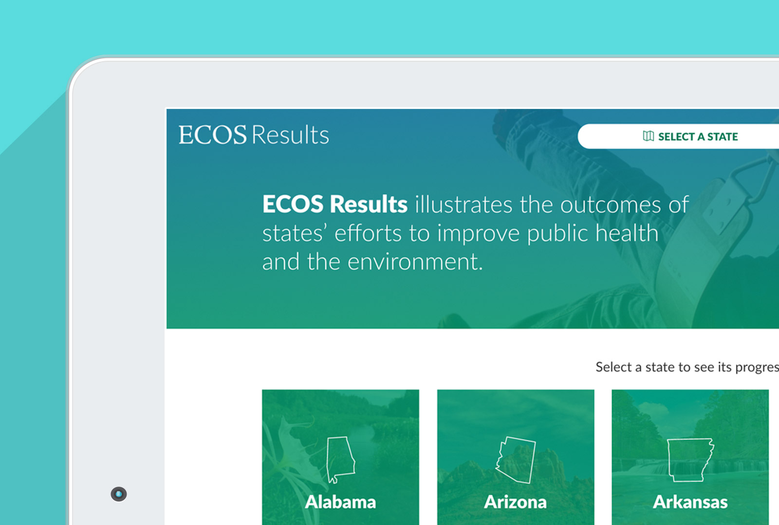 ecosresults.org homepage in an iPad